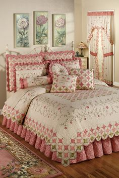 The cotton Cora's Garden Quilt Set includes a bed quilt, bedskirt with drop, and sham(s). Oversized quilt is ivory with a cathedral window quilting pattern on top and bottom in coral pink, paradise pink, and pale green. Chic Bedroom, Bedding Set, Pretty Bedroom, Comforter Sets, Bed, Greenland Home Fashions, Bedroom Design, Beautiful Bedding, Bedding Sets