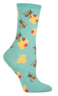 Did you know bees communicate with each other by dancing and wiggling their bodies? You can do the same thing in these colorful busy bee socks!