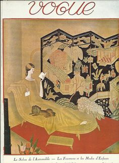 Vogue magazine cover 1923 dog chinese screen Fashion Illustration Vogue Poster Art Deco Home Decor Print Fine Art