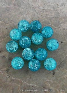 Turquoise 16mm Crackle Glass Beads             by CedarCreekCanada