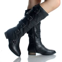 Cosplay - River Tam? Black Buckle Riding Motorcycle Punk Dress Flat Womens Knee High Boots