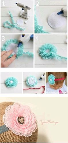 fabric flowers, handmade flowers are made of lace, pattern Ribbon Crafts, Flower Crafts, Ribbon Bows, Ribbons, Ribbon Flower, Handmade Flowers, Diy Flowers, Fabric Flowers, Tulle Fabric