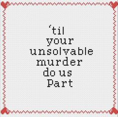 Til your unsolvable murder do us part Cross by AStitchingFox