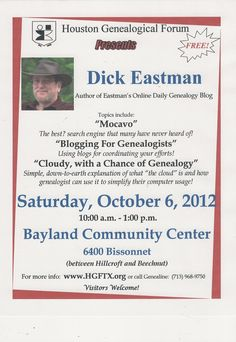 Don't miss these three FREE talks from Dick Eastman. www.HGFTX.org for more details.