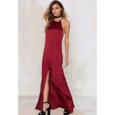 Nasty Gal Maxi Dress *Worn Once* Flowing maxi dress silhouette and features darting at bust, front slit, racer back, and halter neckline. Fully lined. Size S. Nasty Gal Dresses Maxi