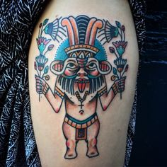 Jaboc Tattoos - Egyptian god Bes.