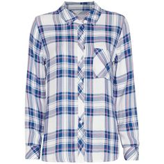 Rails Plaid Shirt: White/Blue ($139) ❤ liked on Polyvore featuring tops, shirts, white shirt, white plaid shirt, long plaid shirt, long sleeve tops and tartan shirt