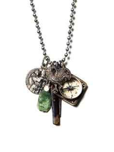 Milan; One of a kind found object design necklace composed entirely of antiques.