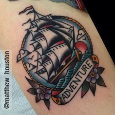 Rad ship piece done by @matthew_houston check him out! #tattoo #tattoos…