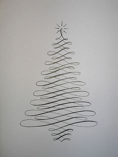 Christmas Cards! Simple Calligraphy Christmas Tree Card | http://diyready.com/22-handmade-calligraphy-christmas-cards-diy-christmas-cards/