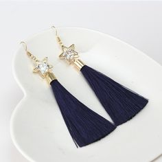 Hollow Out Pentagram Rhinestone Drop Long Tassel Earrings - T-special.com
