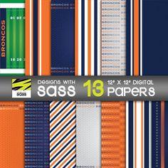 Digital Paper, Broncos, Denver Broncos, Papercraft, Football, NFL, Sports, Blue, Orange, White, Jersey, Pattern, Jamberry, Commercial Use