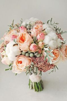 Stunning Pink and Peach Bridal Bouquet perfect for your romantic wedding decor Bridal Bouquet Coral, Bridal Flowers, Bride Bouquets, Floral Bouquets, Green Bouquets, Peach Bouquet, Bouquet Flowers, Spring Bouquet, Pastel Flowers