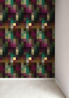 Een muur laten opvallen? Dat doe je met dit grafische behang van KEK Amsterdam. Het behang bestaat uit allerlei vierkanten in diverse kleuren. Price €109,95