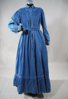 1890s Blue Calico Winter Day Dress With Gingham Apron