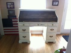 solid wood roll top secretary desk - Google Search