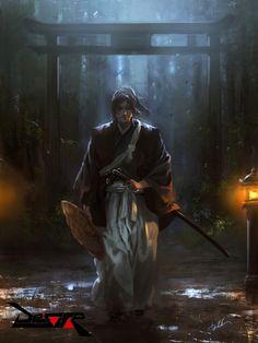 Yuji, Diego Cunha on ArtStation at… Ronin Samurai, Samurai Warrior, Character Concept, Character Art, Concept Art, Amaterasu, Samurai Artwork, Film Anime, Japanese Warrior