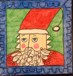 Another Santa portrait . I do a simple  guided drawing and the rest is up to the student artist