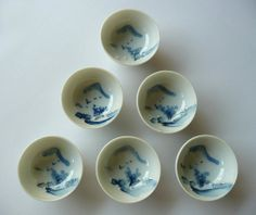 Japanese vintage porcelain sake cups - set of 6 - hand painted - a distant view of a mountain from a garden, flying birds - WhatsForPudding