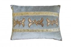Pillow with European raised gold applique, on powder blue velvet  | B. Viz Design | bviz.com