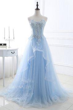 Blue sweetheart tulle long prom dress, blue evening dress