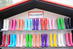 I love the red ones on the bottom left and the orange ones on the bottom middle!! Hunter boots are soooo cute!