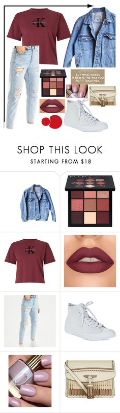 """●"" by emaleelynn ❤ liked on Polyvore featuring Levi's, Huda Beauty, Calvin Klein, American Eagle Outfitters, Converse, Burberry, cute, casual and comfy"