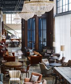 SoHo House Chicago - Allis  love the round tables...could go well in our kitchen