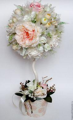 """Купить Топиарий """"Свежесть росы"""" - бежевый, розовый, белый, топиарий, топиарий дерево счастья"""