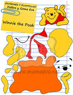 Winnie the Pool Pooh Bebe, Winnie The Pooh, Imprimibles Toy Story Gratis, Deco Disney, Felt Quiet Books, Foam Sheets, Sewing Appliques, Felt Patterns, Disney Crafts