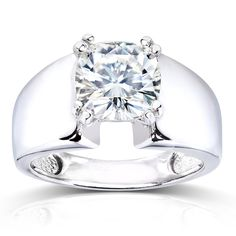 Annello by Kobelli 14k White Gold Forever One 2ct Cushion Moissanite Wide Solitaire Engagement Ring
