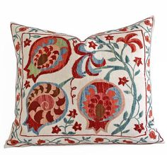 SALE Hand Embroidery Silk Suzani pillow decorative pillows