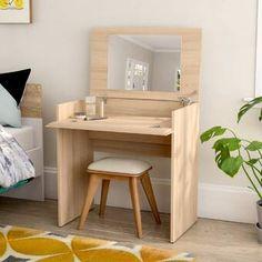 Trule Teen Jansen Vanity Set with Mirror Small Bedroom Vanity, Small Vanity, Vanity Set With Mirror, Wood Makeup Vanity, Wood Vanity, Makeup Vanities, Table Design, Design Design, Storage Spaces