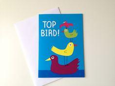 Top Bird Birthday Card, Best Friend Birthday card, Mum card, cute illustrated bird card, funny birthday card, sister card, girlfriend card by hello DODO via Etsy