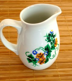 Ceramic Milk Pitcher With Flowers