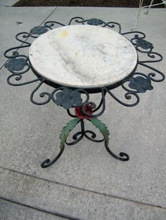 Marble Top Cast Iron Base Garden Table / Rose / by assemblage333, $165.00