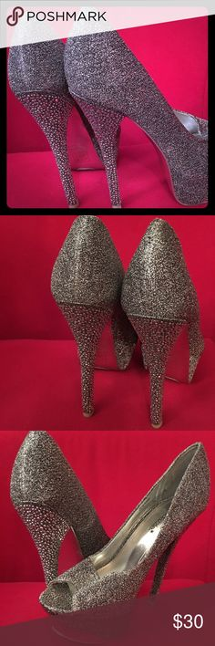 Gray/Sliver Stilettos with Rhinestones up the heel Gray/Silver Peep Toe 6 inch stilettos 2 inch platform Shoes Heels