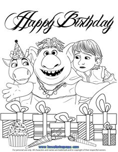 Baby Sven And Young Kristoff With Troll Coloring Page