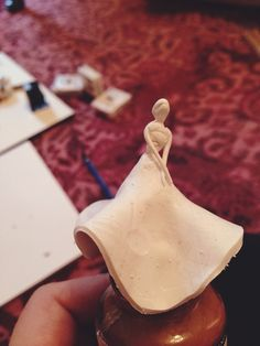 Creating clay ladies in gowns!