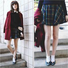 Very Audrey Horne Kiana McCourt - Chic Wish Skirt, Vintage Shoe, Chic Wish Coat, American Apparel Cable Knit - Schoolgirl Plaid