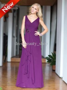 Wholesale Chiffon Sexy V-Neck Ruffles Purple Long Bridesmaid Dresses 2013 Cheap Shiny Beaded Sequin Party Gown, Free shipping, $81.76-104.4/Piece | DHgate