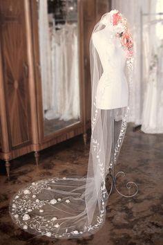 Unique and Chic Weddings : Flower Power ~ Wedding Veils V Floral Crowns ~Claire Pettibone Veil
