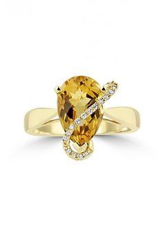 Effy 14K Yellow Gold Pear Citrine and Diamond Ring, 2.45 TCW - Rings - Women