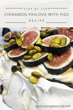 Cinnamon Pavlova is a stunning meringue dessert combined with the praline cream and decorated with fresh figs. It is a perfect cake for a special occasion! Fig Recipes, Cake Recipes, Dessert Recipes, Pavlova Cake, Pavlova Recipe, Australian Desserts, Meringue Desserts, Fresh Figs, Desert Recipes
