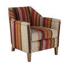 Small George Club Chair, Oak Legs - Multi