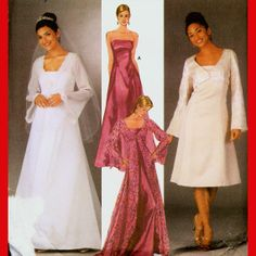 Wedding Dress Evening Gown Sewing Pattern Sizes 14 - 22 Strapless with Jacket Overdress