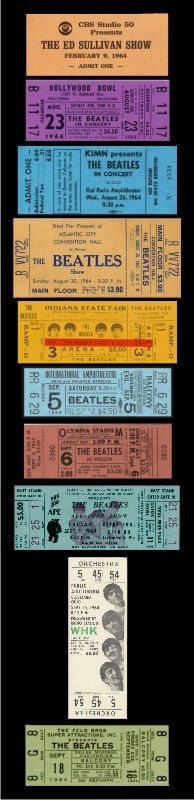 Ten 1964 Beatles unused paper replica concert tickets Collect, Scrapbook,made in the USA