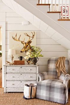 Rustic Charm - Our Most Fabulous Foyers - Southernliving. The space under your stairs doesn't have to be wasted. An…