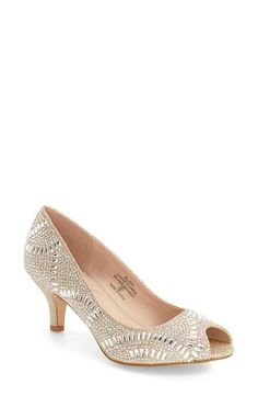 Lauren Lorraine 'Belinda' Crystal Embellished Peep Toe Pump (Women)