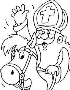 Sinterklaas coloring pages Christmas In Holland, Kids Christmas, Colouring Pages, Coloring Pages For Kids, Crafty Kids, Color Activities, Christmas Activities, Digital Stamps, Diy For Kids